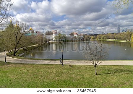 Pond at the walls of the Novodevichy Convent. Mid-April. Moscow Russia.