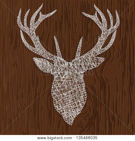 Vector illustration of a silhouette of deer thread. Drawing on a wooden background