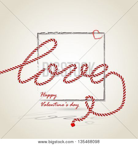 Vector illustration. Romantic love rope valentines day and weeding design elements