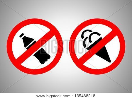 Signs prohibiting ice cream and water. Vector illustration.