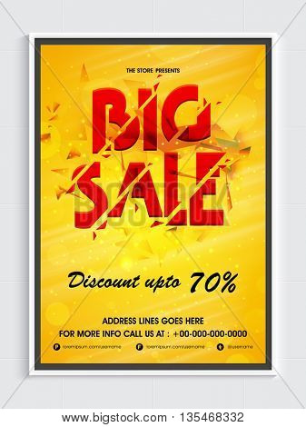 Stylish Big Sale Flyer, Discount up to 70% Off, Vector Illustration.