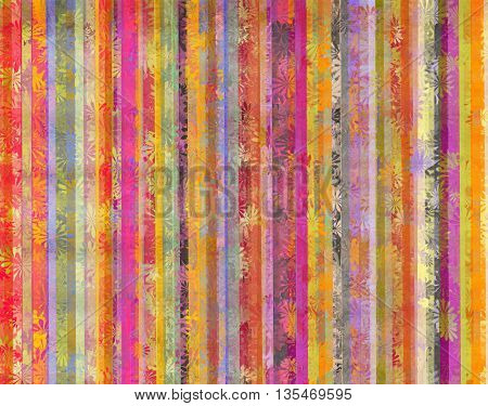 Colorful background and dirty vertical lines with overlapping stylized flowers