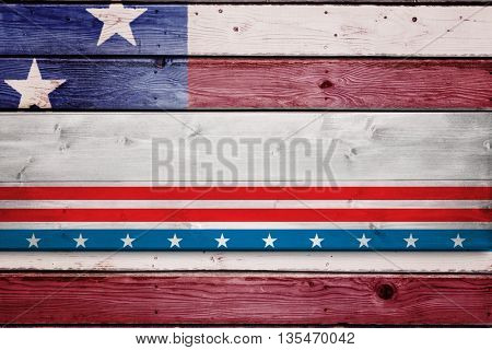 Bleached wooden planks background against composite image of usa national flag