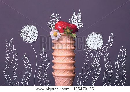 Strawberry With Flower In Waffle Tartlet