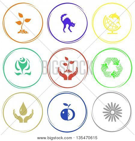 sprout, cat, globe and shamoo, rose, plant in hands, recycle symbol, protection blood, apple, camomile. Nature set. Internet button. Vector icons.