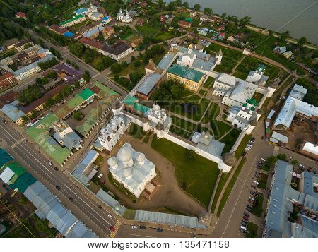 Aerial Bird-eye view of Gorgeous Rostov the Great Kremlin, Part of Russia Golden Ring Historical Heritage