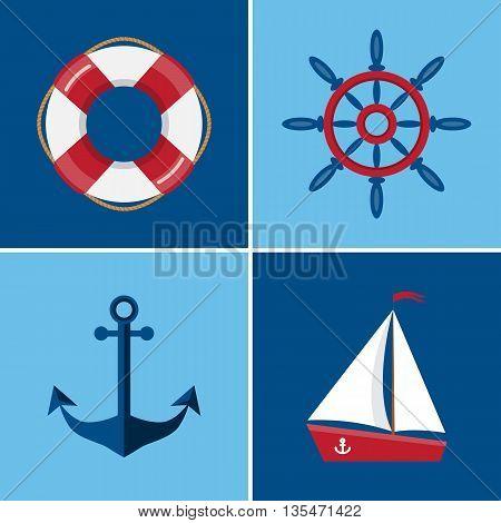 Vector set of nautical and marine icons. Lifebuoy icon. Wheel icon. Anchor icon. Ship icon. Flat style vector illustration
