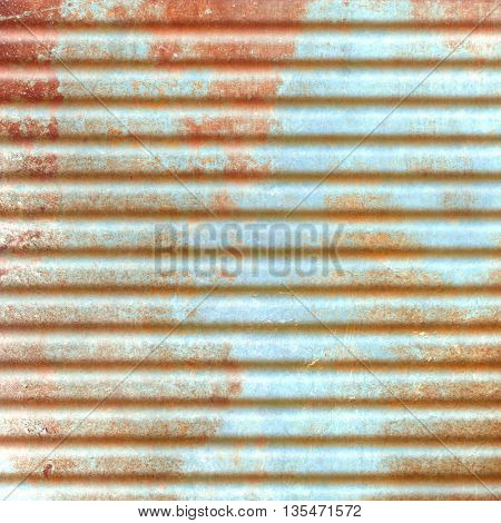 Rusty blue corrugated iron sheet - abstract grunge background
