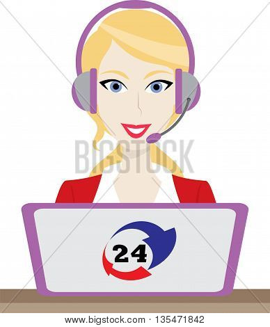 24h all the time customer support center via phone mail operator service icons concept illustration