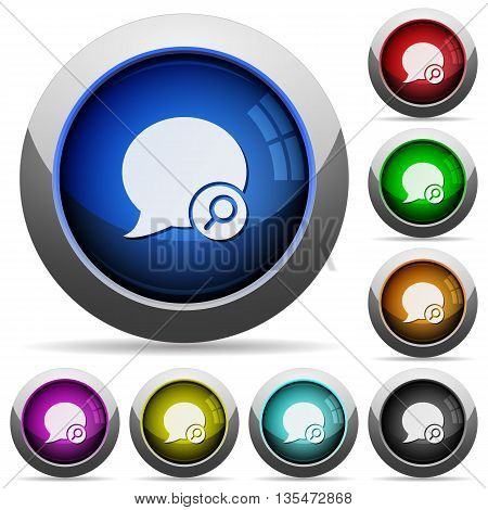 Set of round glossy Find blog comment buttons. Arranged layer structure.