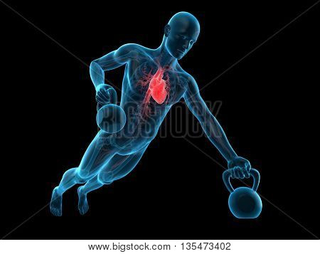 3d rendered, medically accurate 3d illustration of an athlete with kettle bell