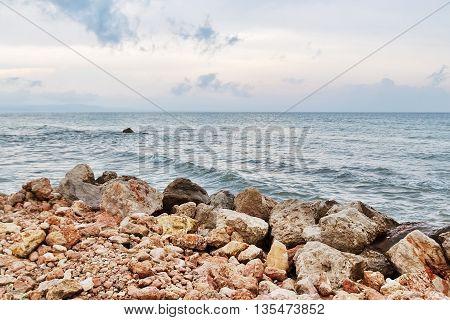 Rocky coast and sea in Tarragona. Catalonia Spain.