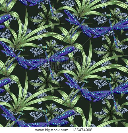Violet dragonfly and green leaf plants vector seamless pattern. Insects butterflies in dark green garden background with brushed watercolor effect. Botany boho batik pattern.