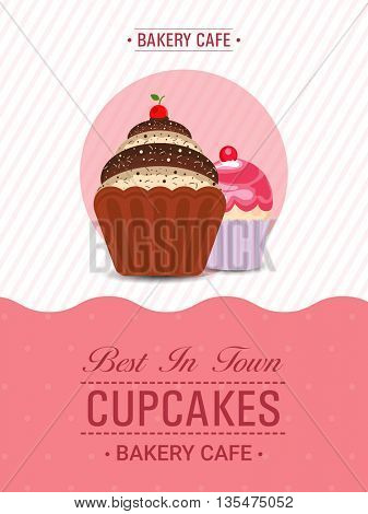 Cupcakes Template, Cupcake Bakery Brochure, Cupcake Shop Menu Design, Restaurant Banner with illustration of fresh sweet cupcakes on stylish background.