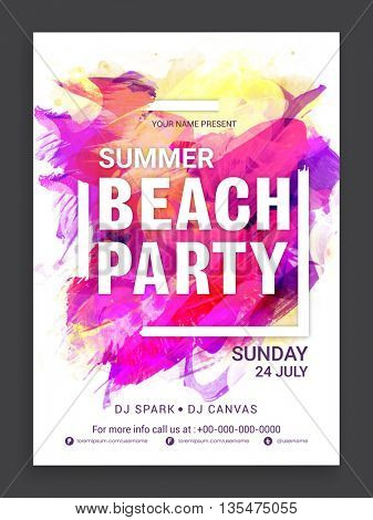 Colorful abstract brush stroke decorated, Template, Banner, Flyer or Invitation Card design for Summer Beach Party celebration.