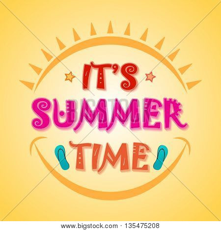 Beautiful Poster, Banner or Flyer design with stylish text It's Summer Time on shiny yellow background.