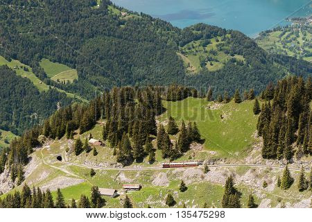 Cog Railway goes to tunnel with Thunersee on background of blue lake.