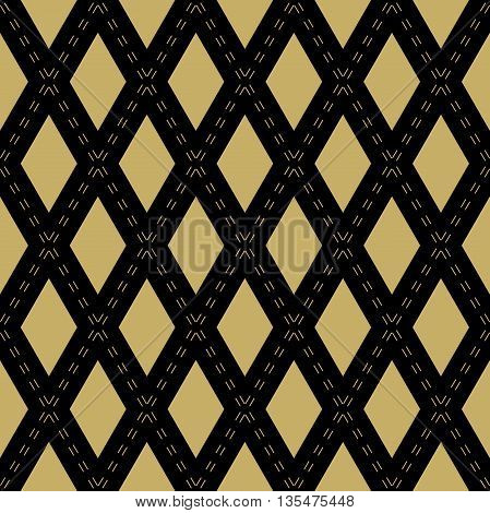 Geometric fine abstract background. Seamless modern pattern. Wallpaper with golden rhomuses and lines