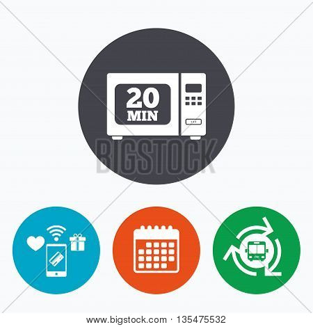 Cook in microwave oven sign icon. Heat 20 minutes. Kitchen electric stove symbol. Mobile payments, calendar and wifi icons. Bus shuttle.