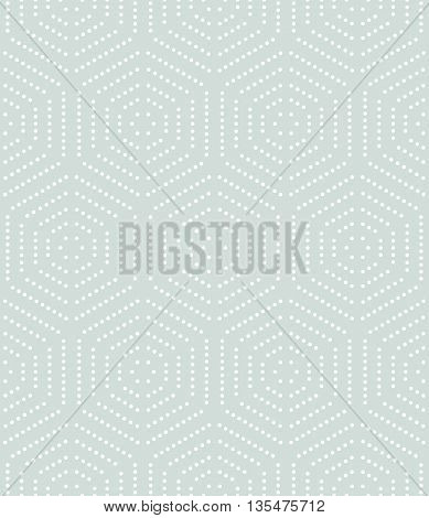 Geometric repeating ornament with white hexagonal dotted elements. Seamless abstract modern pattern