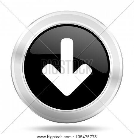 download arrow black icon, metallic design internet button, web and mobile app illustration