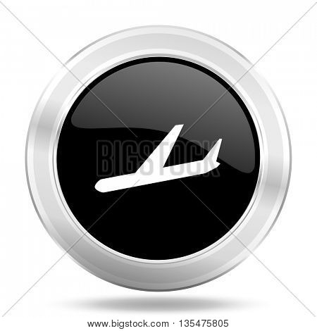 arrivals black icon, metallic design internet button, web and mobile app illustration