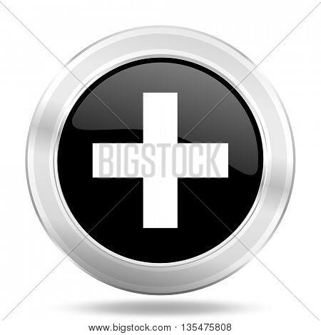 plus black icon, metallic design internet button, web and mobile app illustration