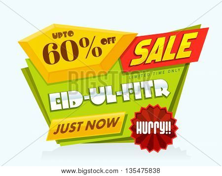 Eid Sale, Limited Time Sale, Sale Paper Tag, Paper Banner, Sale Poster, Sale Background, Upto 60% Off. Creative vector illustration for Muslim Community Festival celebration.