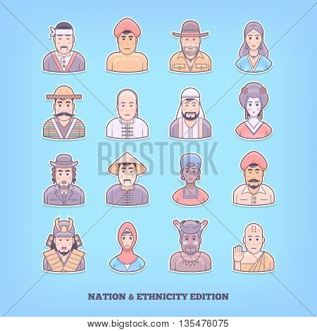 Cartoon people icons. Nation, race, ethnicity design elements. Flat concept vector illustration.