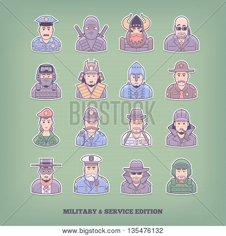 Cartoon people icons. Military and enforcement design elements. Flat concept vector illustration.