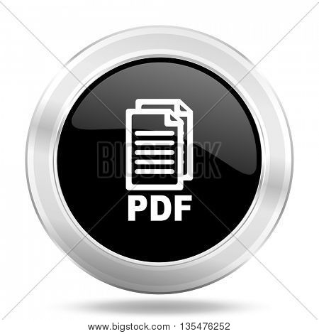 pdf black icon, metallic design internet button, web and mobile app illustration,