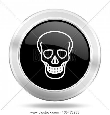 skull black icon, metallic design internet button, web and mobile app illustration