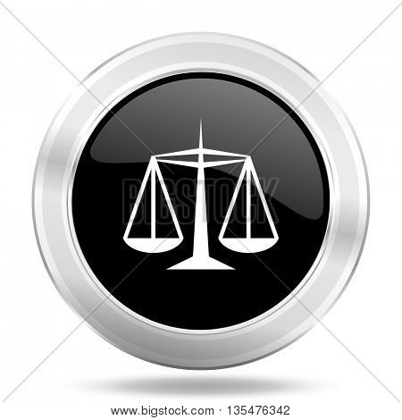 justice black icon, metallic design internet button, web and mobile app illustration