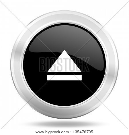 eject black icon, metallic design internet button, web and mobile app illustration