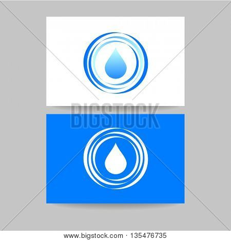 Concept business card design for mineral water, eco drink, bio liquid, aqua product and etc. Vector graphic illustration.
