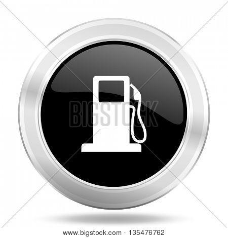 petrol black icon, metallic design internet button, web and mobile app illustration