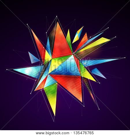 Creative colorful low-poly geometric shape with connecting dots and lines.