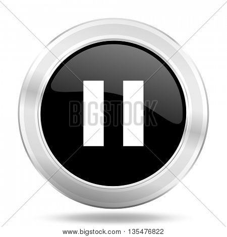 pause black icon, metallic design internet button, web and mobile app illustration