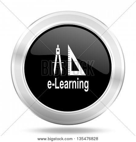 larning black icon, metallic design internet button, web and mobile app illustration