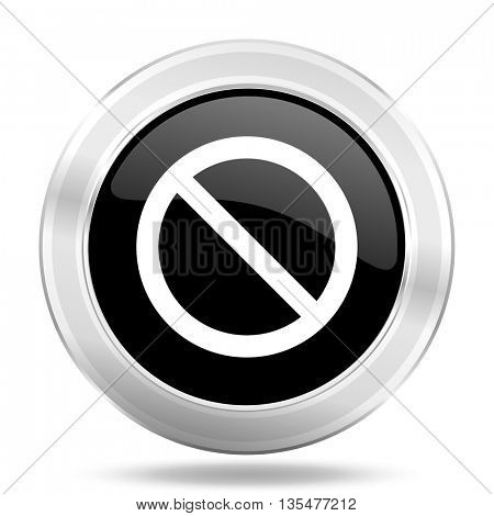 access denied black icon, metallic design internet button, web and mobile app illustration