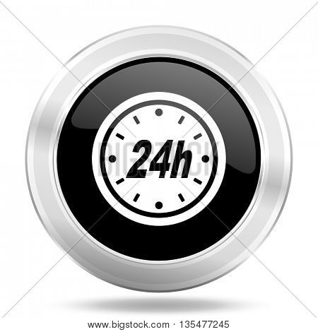 24h black icon, metallic design internet button, web and mobile app illustration