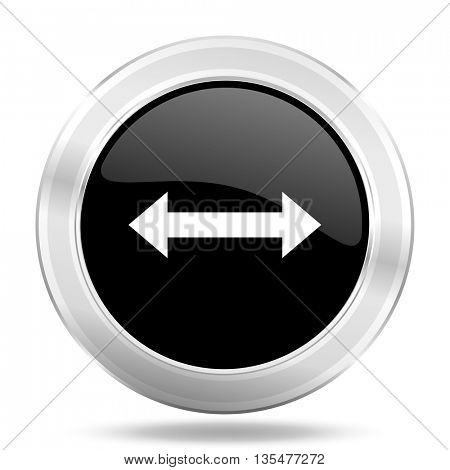 arrow black icon, metallic design internet button, web and mobile app illustration