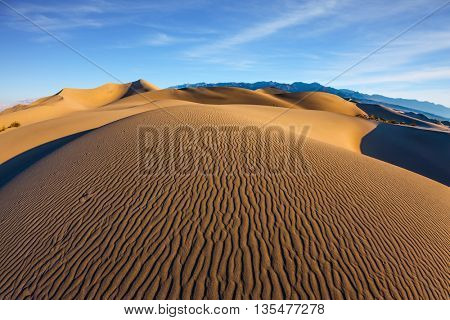 Sand dunes are covered with small ripples. Mesquite Flat Sand Dunes. Bright sunny morning in a picturesque part of Death Valley, USA