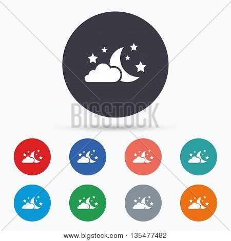 Moon, clouds and stars sign icon. Dreams symbol. Flat night icon. Simple design night symbol. Night graphic element. Circle buttons with night icon. Vector