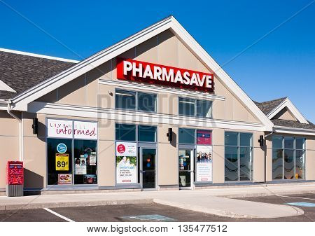 UPPER TANTALLON CANADA - JUNE 11 2016: Pharmasave is a Canadian drugstore and pharmacy retail chain. Each Pharmasave outlet is independently run with stores located in nine provinces.
