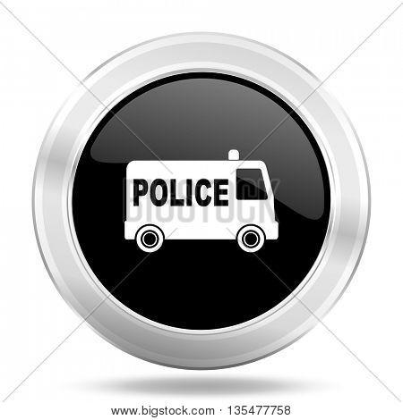 police black icon, metallic design internet button, web and mobile app illustration