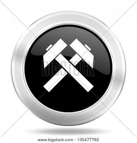 mining black icon, metallic design internet button, web and mobile app illustration