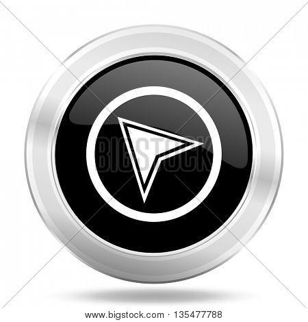 navigation black icon, metallic design internet button, web and mobile app illustration