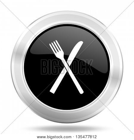 restaurant black icon, metallic design internet button, web and mobile app illustration
