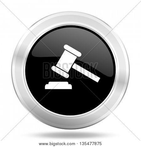 auction black icon, metallic design internet button, web and mobile app illustration